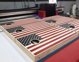 AJJ Enterprises printed cornhole game boards.