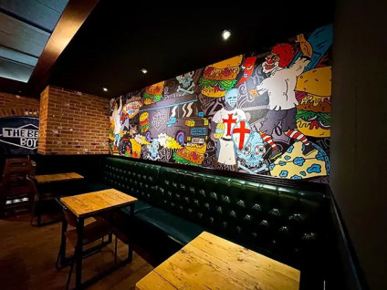 Signs and Labels produced this mural using Metamark substrates for Beefy Boys.