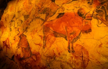 Paleolithic people used natural dyes to create images.