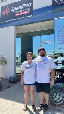Savanna and Perry Stephens, owners of SpeedPro Desert Valley in Phoenix, AZ