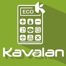 TAYA Groups Eco Calculator for KAVALAN large-format banner materials.