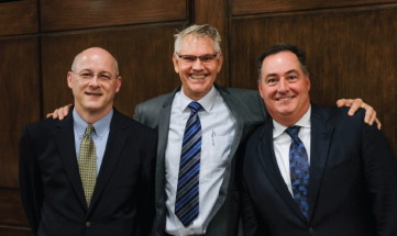 From the left, Ford Bowers, CEO and President, SGIA; Rich Thompson of Ad Graphics, Chairman of the SGIA Board of Directors; and Mark Subers, President/CRO – Printing & Packaging, Publishing, NAPCO Media.