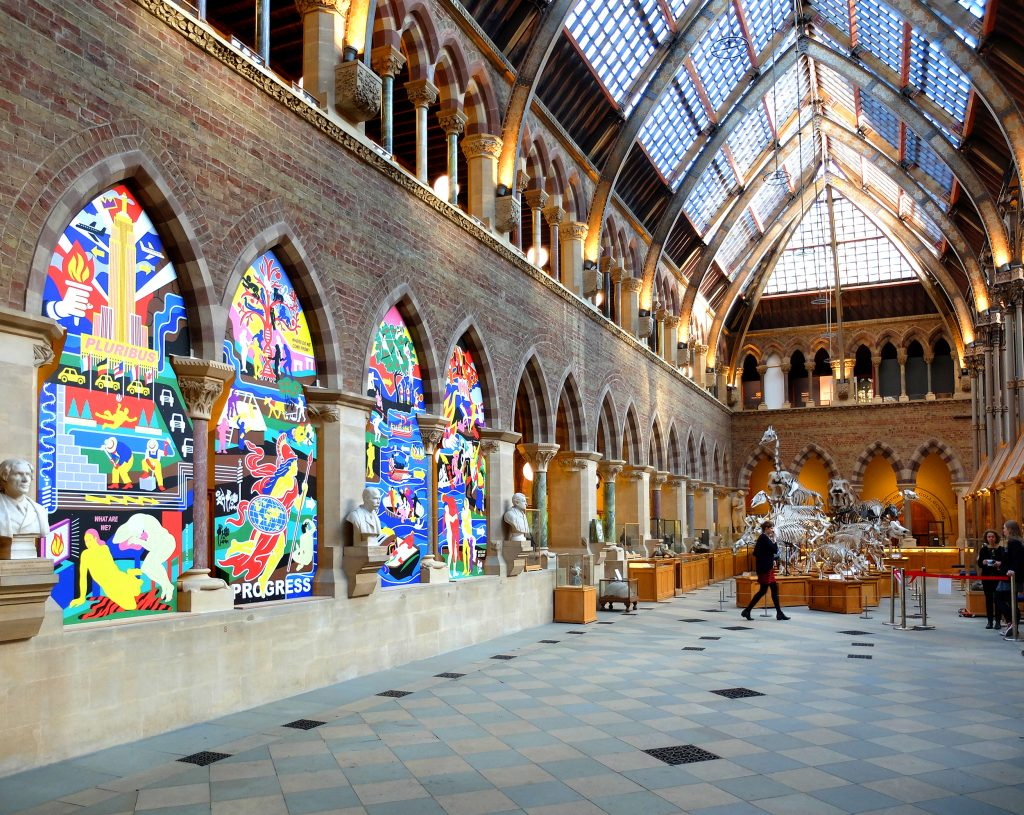 Contemporary Artwork Created with Dibond Reflects Museum's Exhibition with Bold Contrast to Neo-Gothic Architecture