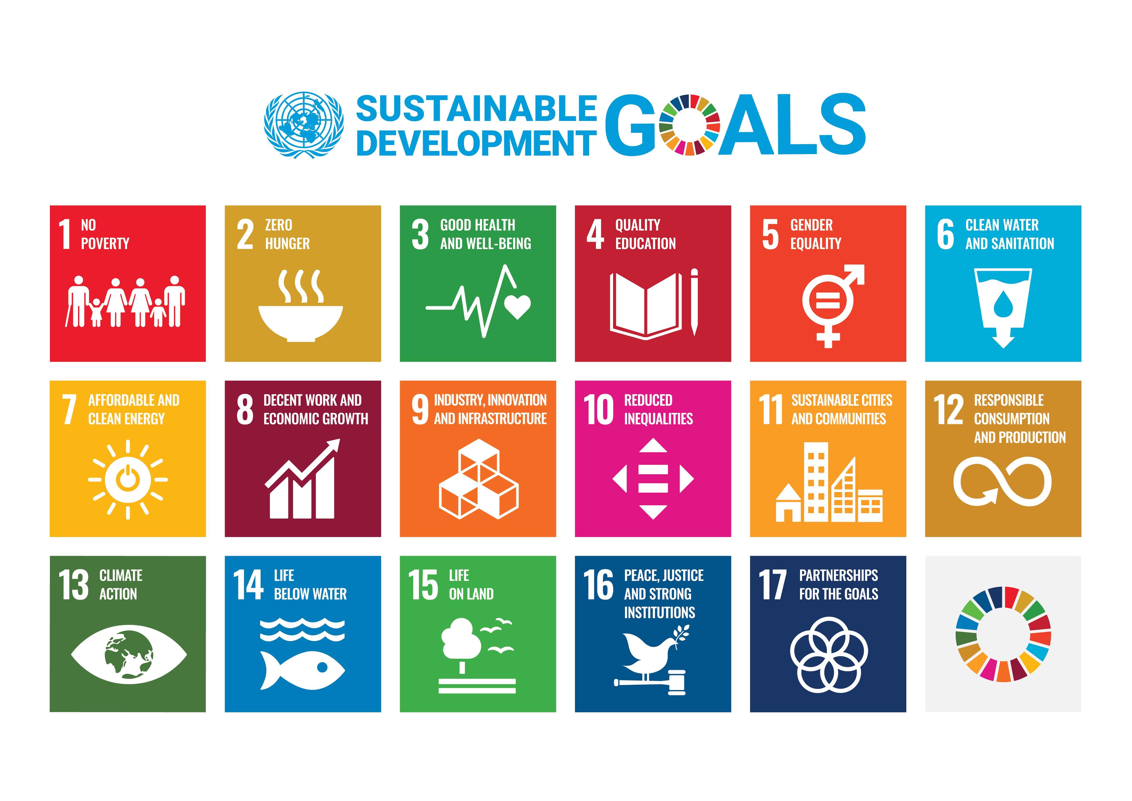 Sustainable Development Goals Poster with UN Emblem