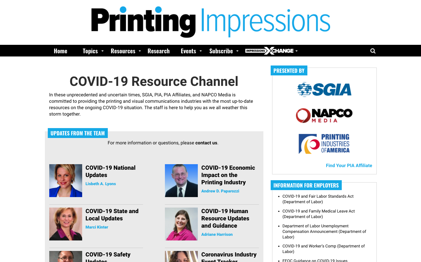 Thumbnail of COVID-19 resource page.