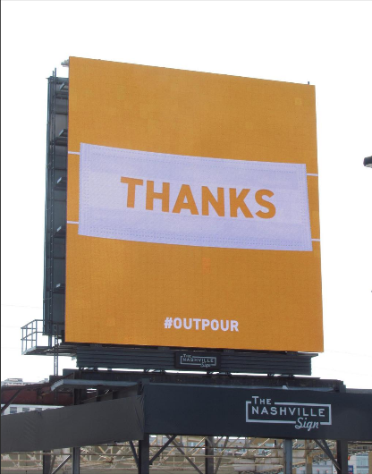 Billboard thanking health care workers in Nashville.