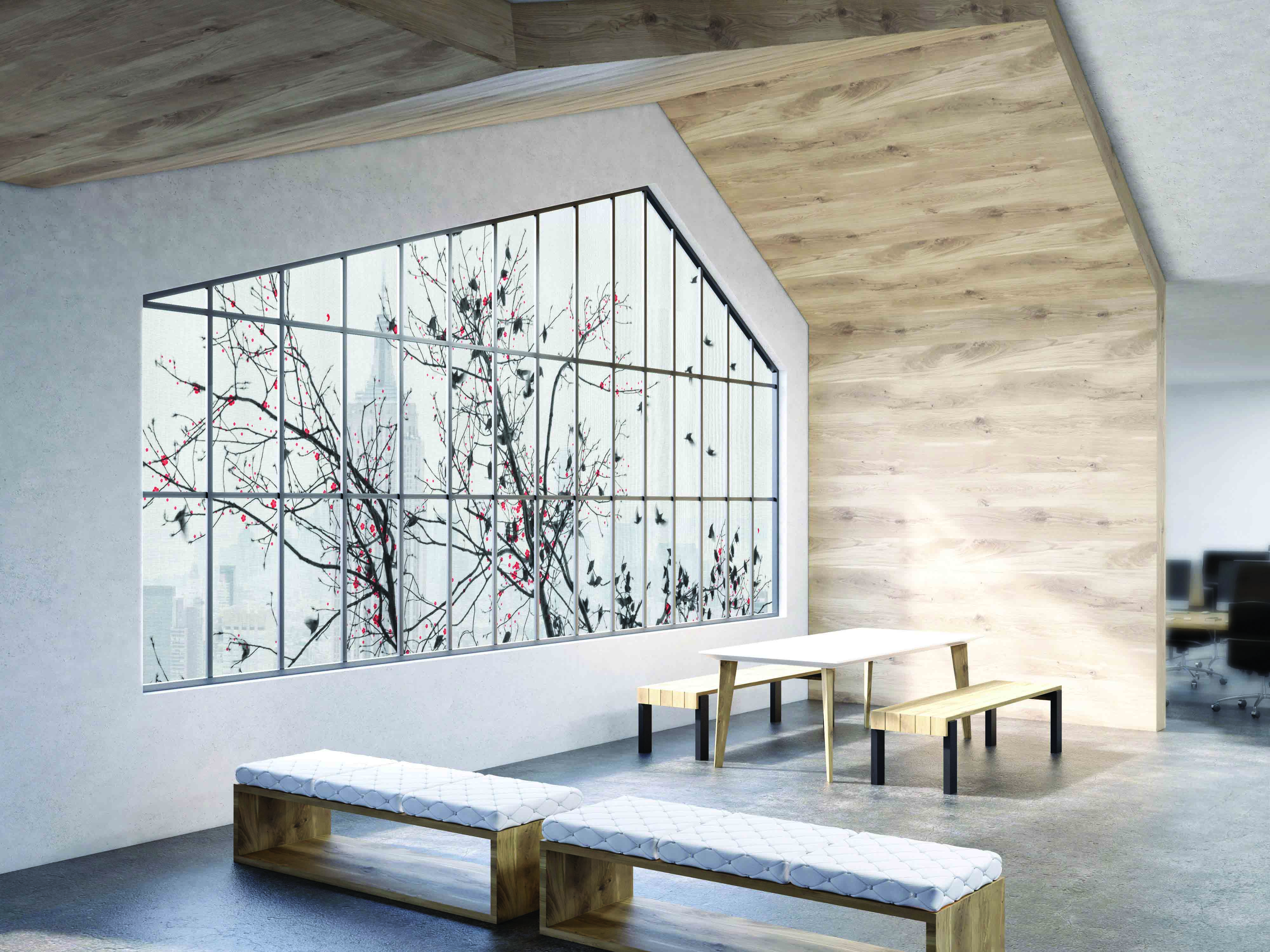 Window graphics help define a space.