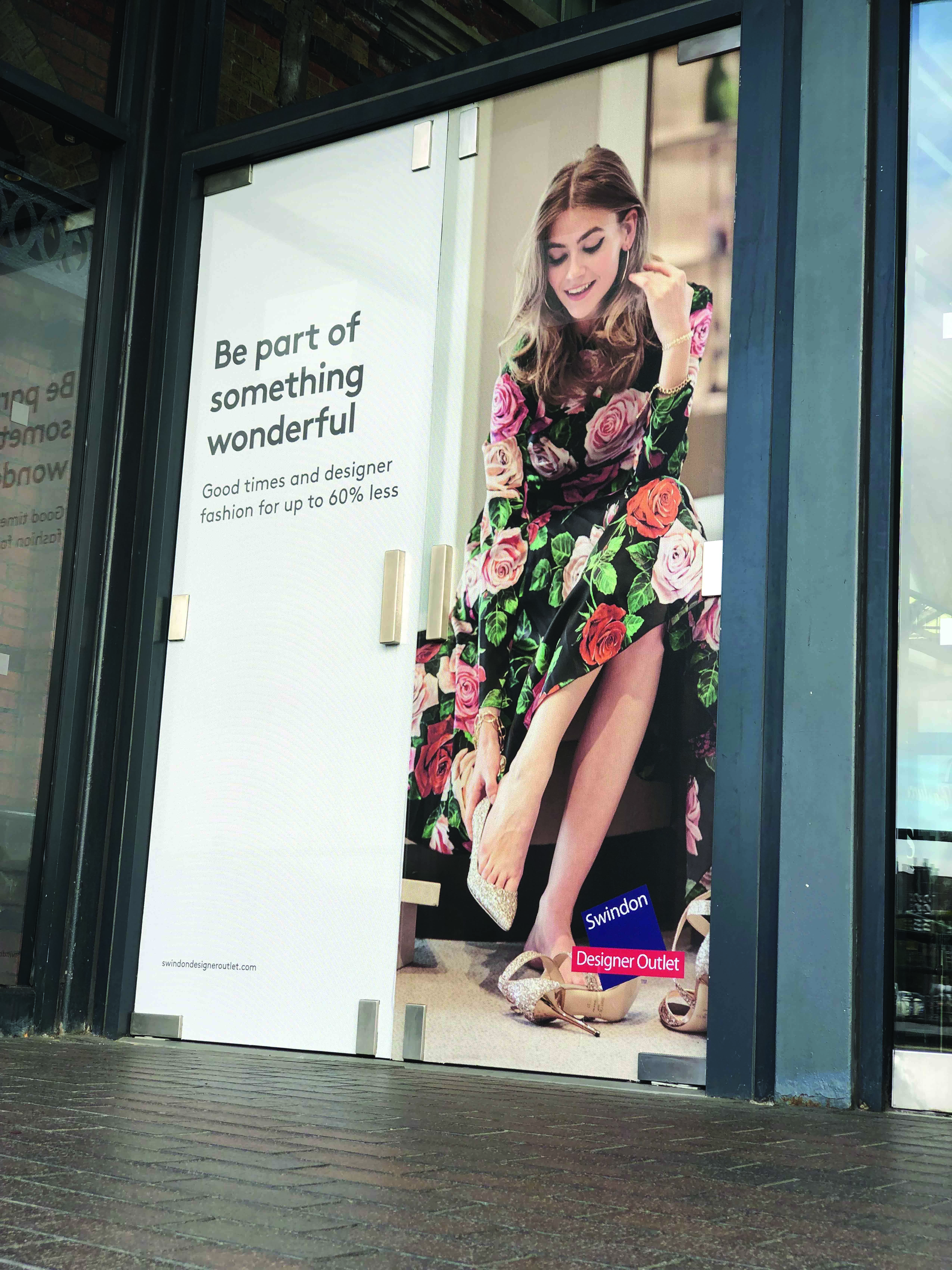 Window graphics at the Swindon Designer Outlet