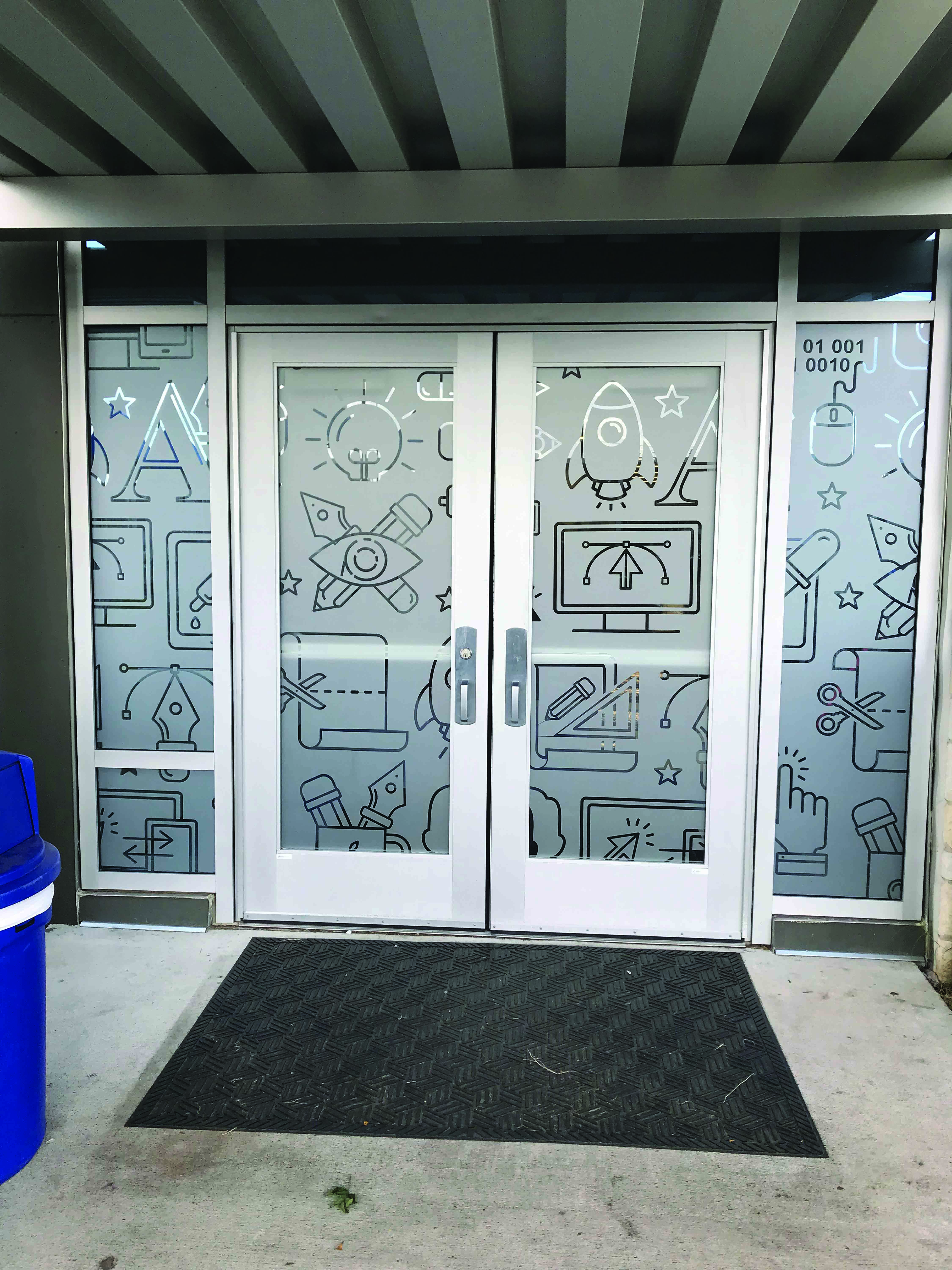 Frosted window graphics for privacy
