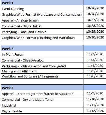 PRINTING United Digital Experience schedule
