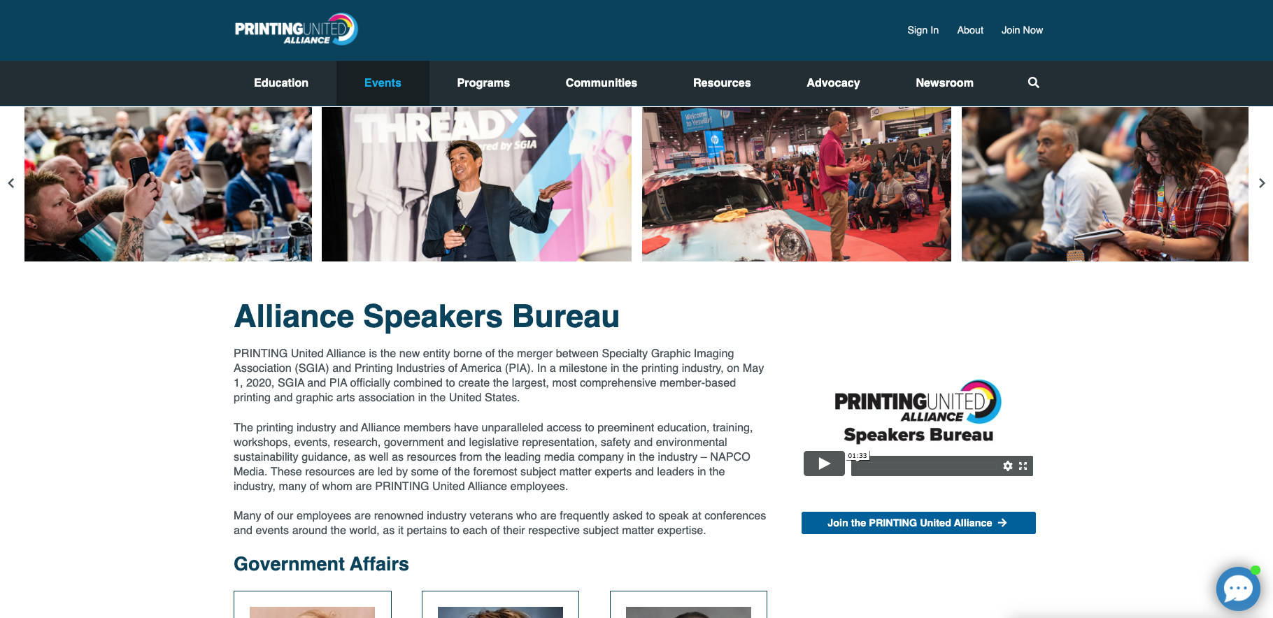 PRINTING United Alliance Speakers Bureau