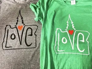 Allmade shirts used by printers supporting Oregon communities.