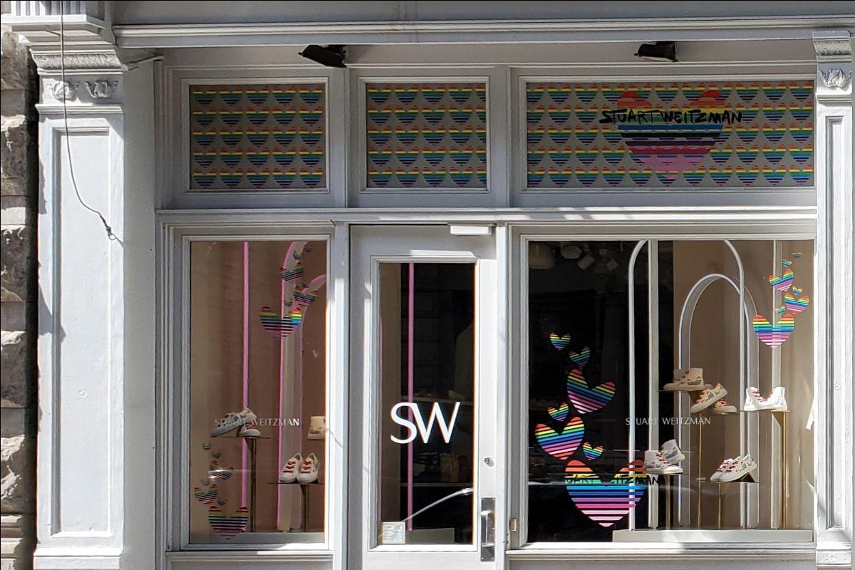 Heart Studded Display at Stuart Weitzman in SoHo