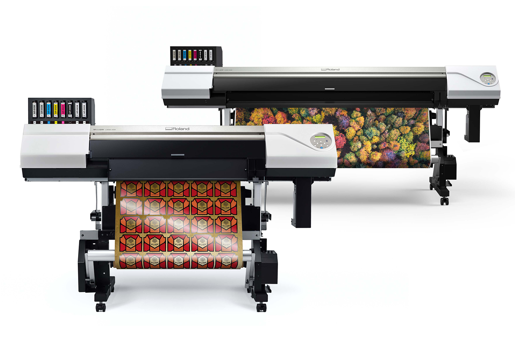 Roland DGA's VersaUV LEC2 series roll-to-roll UV printer/cutters.